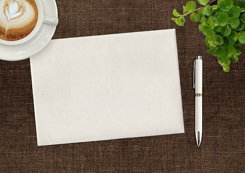 Note Pad, Pen, Coffee, Cup, Plant, Desk, Writing, Paper