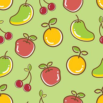 Seamless, Pattern, Healthy, Fruit, Design, Summer