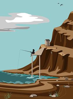 Fisherman, Nature, Outdoors, Cartoon