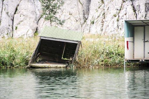Fishing, Bach, Hut, Water, River