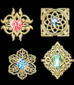 Gemstones, Gold Filigree, Shiny, Border, Diamonds, Ruby