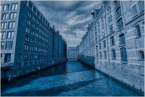 Channel, Hamburg, Architecture, Brick, Building, Waters