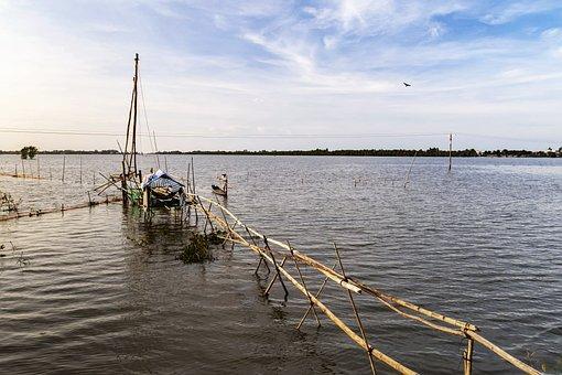 Sunset, Hut, Fishing, Net, Clouds, Vietnam, Flood