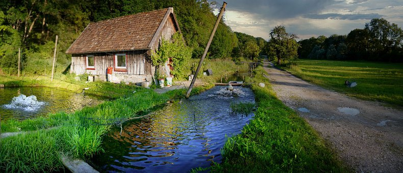 Fish Farm, Trout Breeding, Hut, Landscape, Bach, Nature