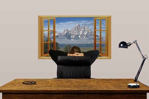 Desk, Office, Window, View, Break, Relax, Ponder, Think