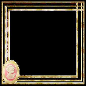 Picture Frame, Frame, Cameo, Gold Foil, Vintage, Mockup