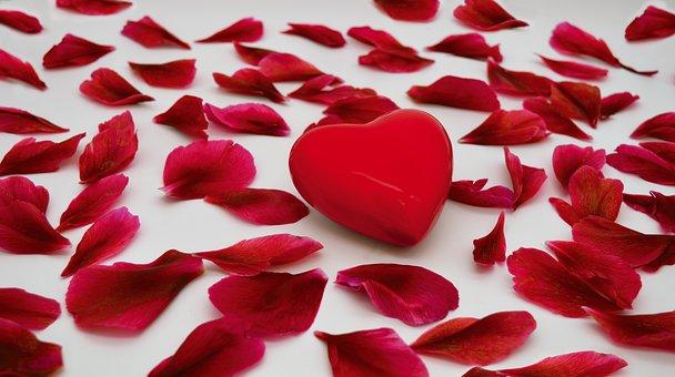 Red Petals, Heart, Love, Romance, Romantic