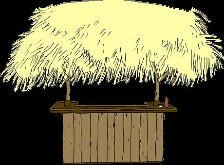 Hut, Straw, Roof, Beach, Bar, Counter