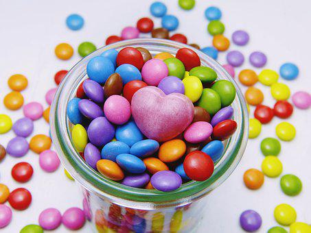 Smarties, Glass, Heart, Candy, Sweetness, Sugar