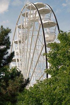 Ferris Wheel, Gondolas, Trees, Nature, Amusement Park