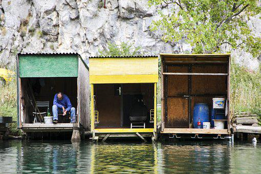 Fishing, Huts, River, Colour, Water