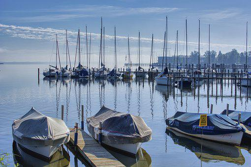 Lake, Waters, Chiemsee, Port, Boats, Web
