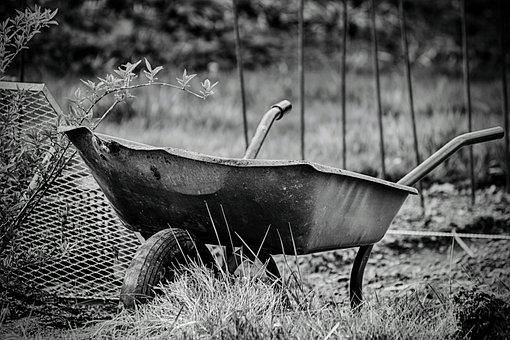Wheelbarrow, Work, Gardening, Crap, Garden, Equipment