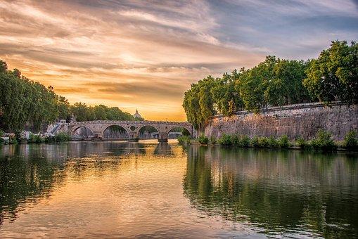 Rome, Tiber, Vatican, Bridge, River, Architecture