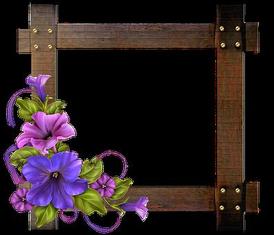 Wood Frame, Vintage Floral, Birds, Scroll, Frame