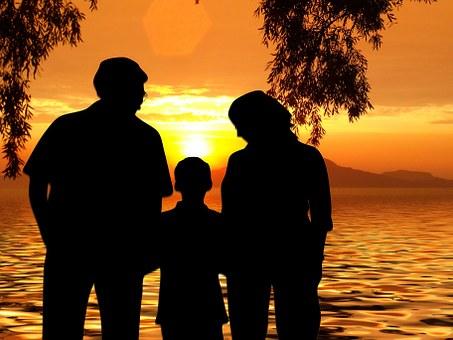 Beach, Sun, Sunset, Woman, Sea, Wave, Family, Children