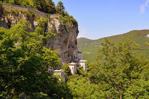 Rock, Church, Suspended, Our Lady Of The Crown, Italy