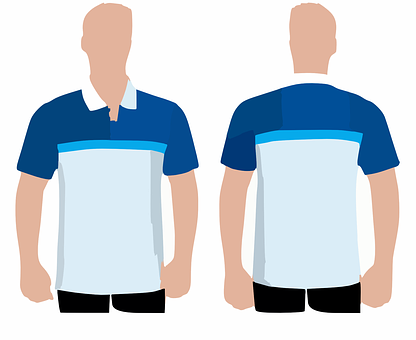 Shirt, Polo, Jersey, Front, Back, Modell, Collar, Blue