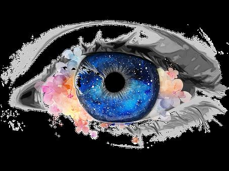 Eye, Creative, Galaxy, Collage, Flowers, Paint