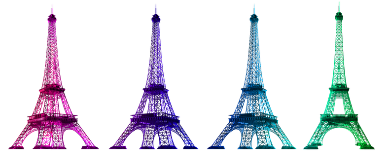 Eiffel Tower, Colorful, France, French