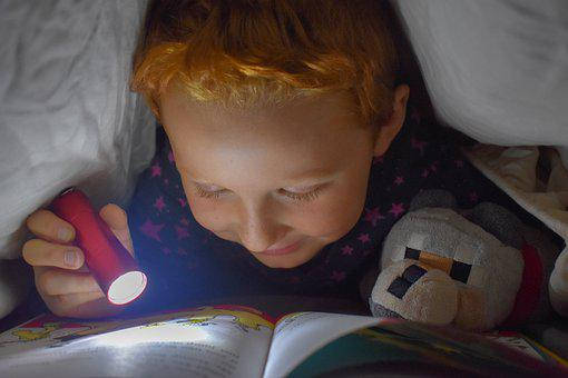 Reading, Bed, Flashlight, Book, Read, Learn, Page