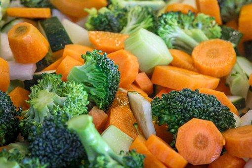 Vegetables, Cut, Background, Food, Carrots, Broccoli