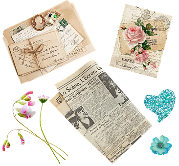 Ephemera, Vintage Papers, Letters, French, Cameo, Paper