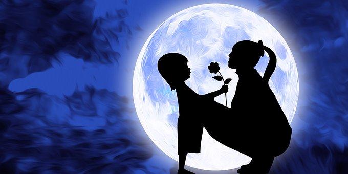 Mother, Kid, Love, Motherhood, Flower Gift, Moon
