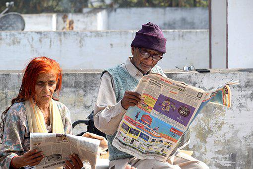 Old Couple, Reading, Newspaper, Bookworm, Grandparents