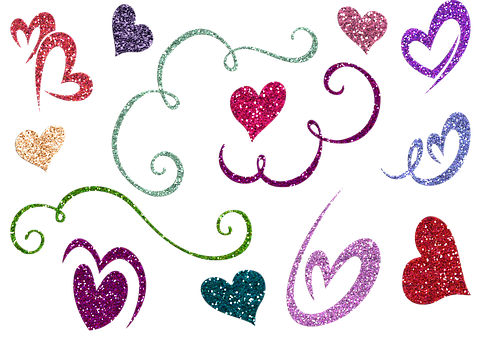 Heart And Flourishes, Borders, Frame, Ribbon, Colorful