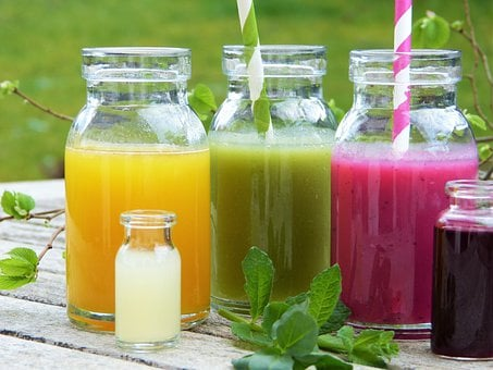 Smoothies, Juice, Glasses, Papierhalm, Herbs, Fresh