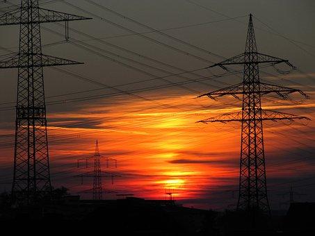 Sunset, Power Poles, Dusk, Strommast, Twilight