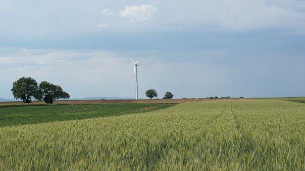 Landscape, Pinwheel, Tractor, Trailers, Field