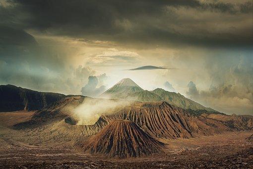 Landscape, Volcanoes, Clouds, Sky, Volcanic, Sunset
