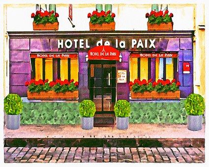 Watercolor, French Building, Hotel, Hotel De La Paix
