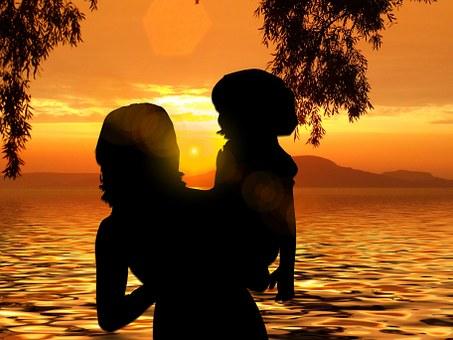 Beach, Sun, Sunset, Woman, Sea, Wave, Family, Mother