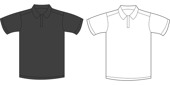 Shirt, Jersey, Polo, T-shirt, Tee, Collar, Gray, White