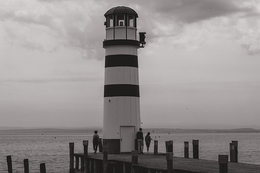 Lighthouse, Black And White, Water, Light, Building