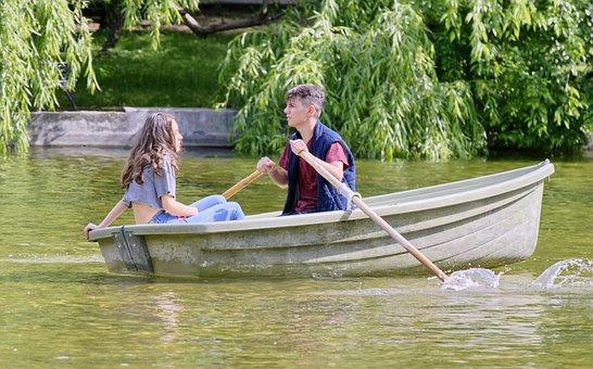 Couple, Young People, Girl, Boy, Walk, Boat, Rowing
