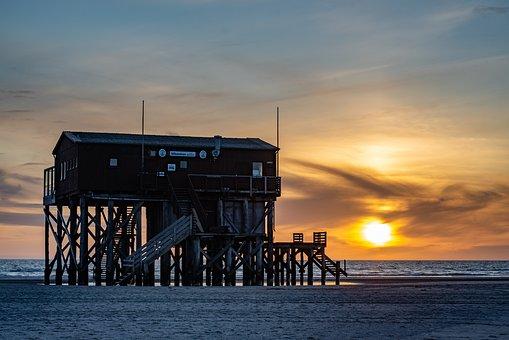 Abendstimmung, Sunset, Dusk, Beach, North Sea, Twilight