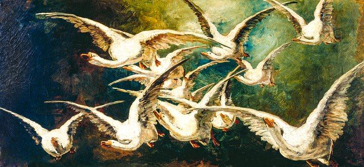 Art, Geese, 1883, Elizabeth Nourse, Flock, Painting