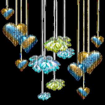 Heart Bunting, Flower Banners, Glitter