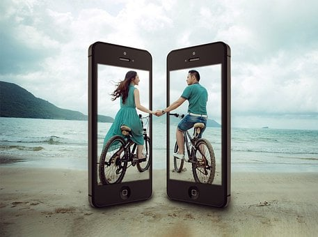 Cellular, Couple, Cycling, Young, Love, Communication