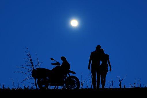 Night, Moon, Sky, Blue, Couple, Love, Romantic