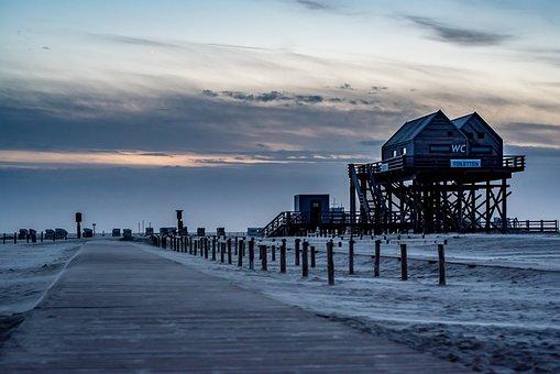 North Sea, Spo, Pile Construction, Sand, Coast