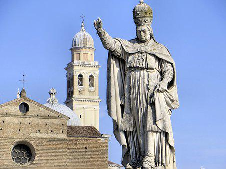 Italy, Padua, Cathedral, Statue, Pope, Campanile, Dome