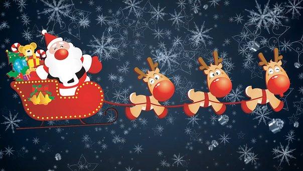 Santa Claus, Reindeer, Bobsled, Christmas, Santa, Snow