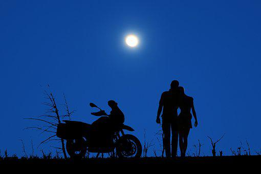 Night, Moon, Sky, Blue, Couple, Love, Romantic