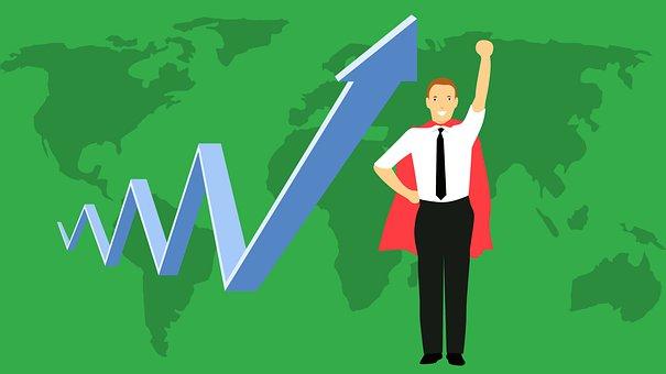 Business, Hero, Chart, Up, Superhero, Businessman