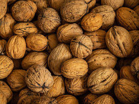 Nuts, Walnuts, Pile, Group, Shell, The Whole, Dry